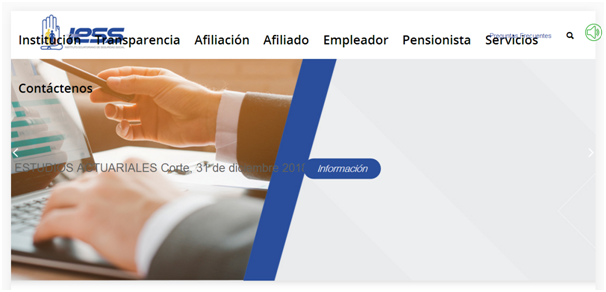 Figura 1. Portal web del Instituto Ecuatoriano de Seguridad Social.