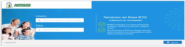 Figura 2. Sistema de Servicios en línea del IESS.